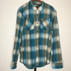 Prana Button Front Plaid Western Shirt Mens L
